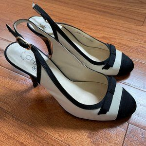 Chanel Sling Back Bow Round Toe Colorblock Heels